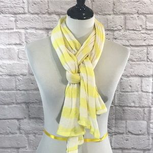Yellow and white striped cotton knit scarf
